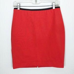Boden Orange Red Pencil Skirt Zipper Back Sz 8